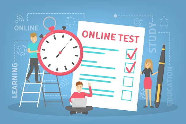 Концепция онлайн-тестирования. викторина на компьютере