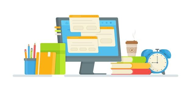 オンラインテスト。合格試験のイラスト。宿題をする。通信教育。コンピューターでのレッスン。
