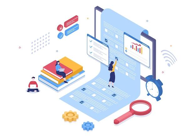 チェックリスト、試験を受ける、回答、フォーム、eラーニング、教育の概念を選択してオンラインテストの背景ベクトル図