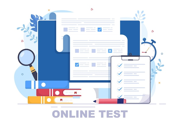Online testing background vector illustration with checklist, taking exam, choosing answer, form, e-learning and education concept