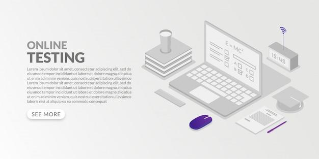アイソメ図スタイルのオンラインテストの概念、インターネット学習コースによる自宅からの試験