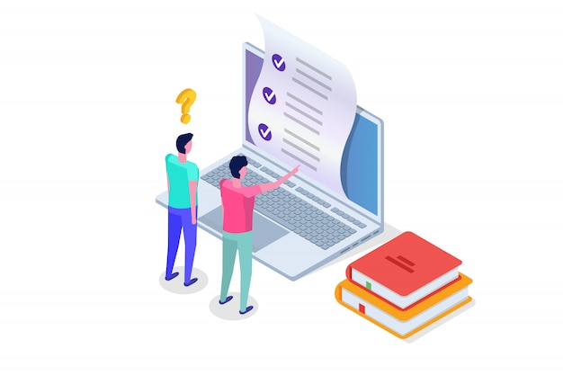 Online testing,e-learning, education isometric concept.  illustration.