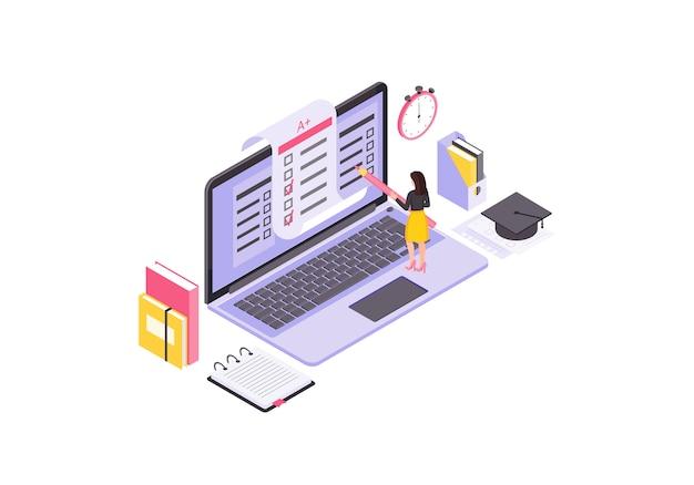 Online testing isometric illustration