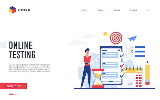 オンラインテストプラットフォームのランディングページ、試験テストフォーム調査のために電話アプリを使用している男性