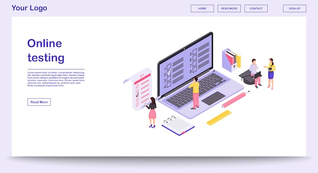 Online testing webpage  template with isometric illustration