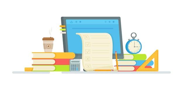 オンラインテスト。抄録。試験準備のイラスト。宿題の実施。