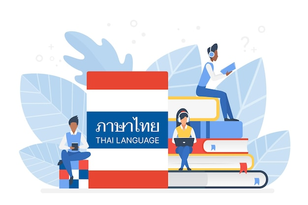 Online thai language courses remote school or university concept