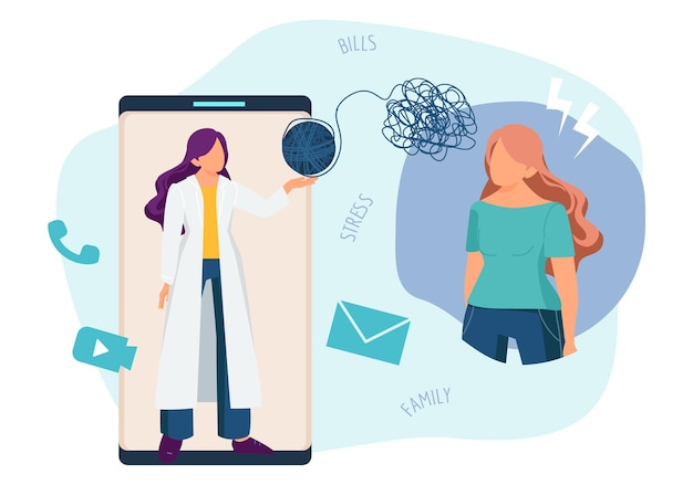 Online therapist. psychotherapy, phone psychology consultation. telemedicine, doctor and patient with mental problems vector illustration. therapist consultation psychotherapy, psychologist therapy