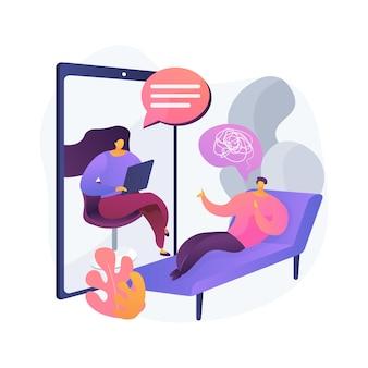 온라인 치료 추상적 인 개념 벡터 일러스트입니다. 온라인 상담, 코로나 바이러스 격리 중 정신 건강, 심리적 도움, 자기 격리, 사회적 거리 두는 추상적 인 은유.