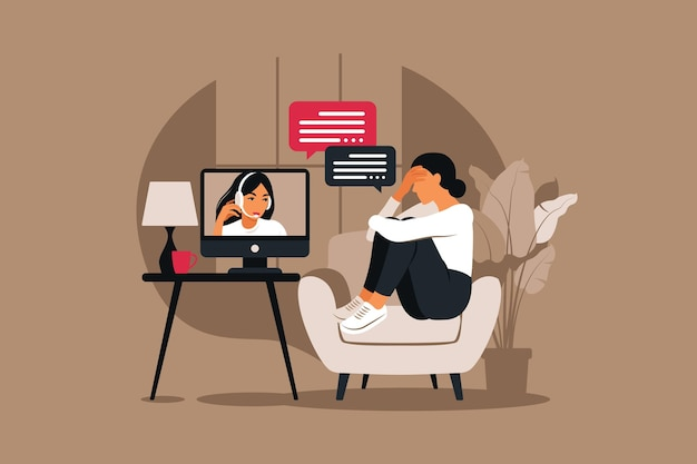 ストレスとうつ病の下でのオンライン療法とカウンセリング。若い女性の心理療法士は、心理的な問題を抱えている女性をサポートしています。ベクトルイラスト