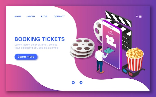 Online ticket booking concept for watching a movie.