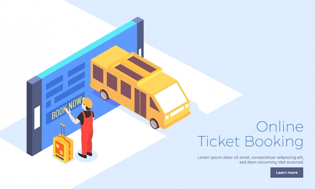 Online ticket booking landing page.
