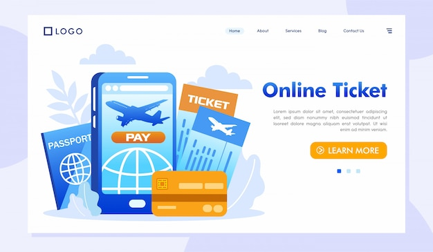 Online ticket landing page website illustration vector