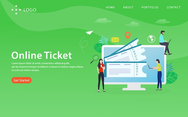 Online ticket, website template,  layered, easy to edit and customize, illustration concept