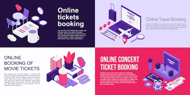 Online tickets booking banner set, isometric style