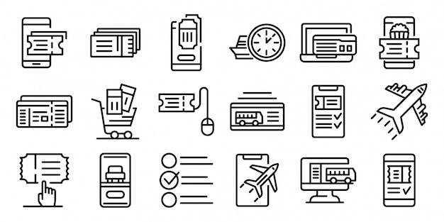 Online tickets booking icons set, outline style