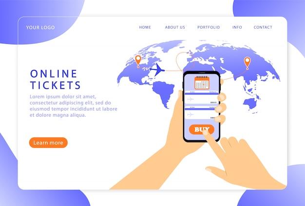 Онлайн билеты. бронирование билетов. целевая страница. современные веб-страницы для веб-сайтов.
