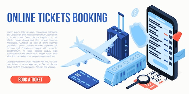 Online tickets booking travel concept, isometric style