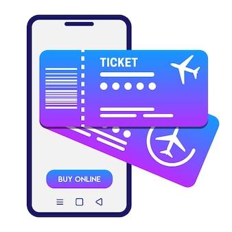 온라인 티켓 개념 벡터 일러스트 레이 션 흰색 스마트폰 및 2 비행기 티켓