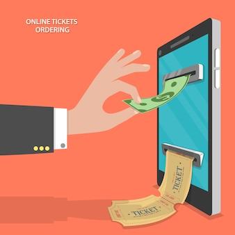 オンラインチケット注文フラットベクトル概念。