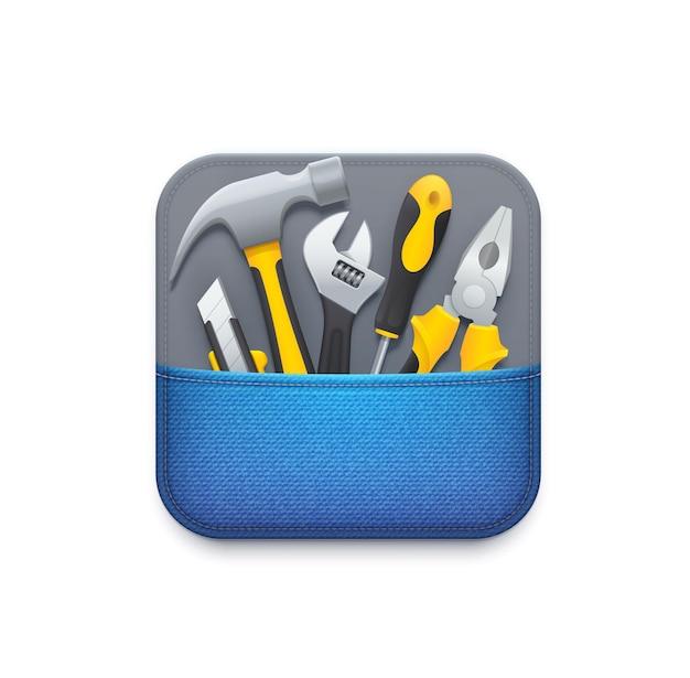 Значок онлайн-инструментов. служба технической поддержки пользователей, приложение для ремонта, диагностики и обслуживания или значок утилиты, 3d-пиктограмма графического интерфейса пользователя с бритвенным ножом, молотком и разводным ключом, отверткой, плоскогубцами