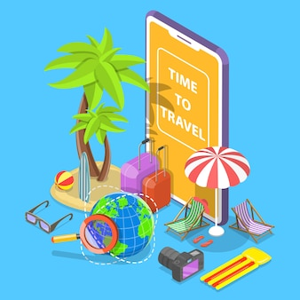 Online tour searching flat isometric illustration.