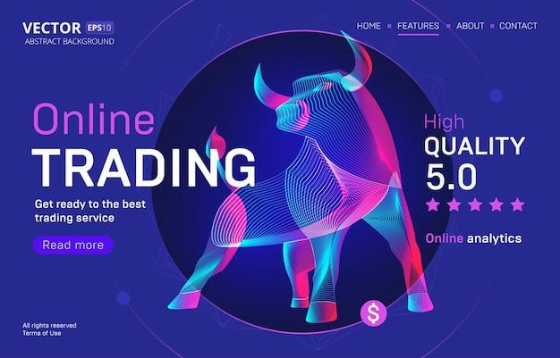 Шаблон целевой страницы бизнес-сервиса онлайн-трейдинга с качественным рейтингом. силуэт быка или бизона в стиле 3d неоновой линии