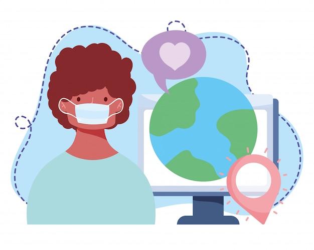 オンライントレーニング、医療マスクの世界のコンピューターを持つ少年、インターネット図を使用したコースの知識開発