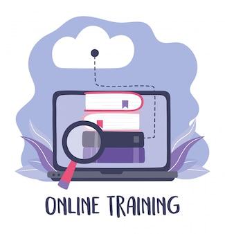 オンライントレーニング、compuerクラウドコンピューティングの本の分析、教育、デジタルイラストを学ぶコース