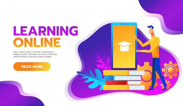 Online training courses  illustration.distance learning business