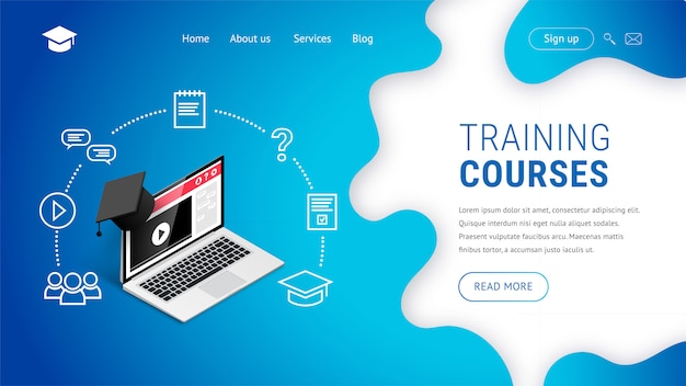 Online training courses landing page design concept.