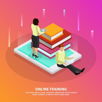 Online training design concept with male and female persons and stack of tutorials on smartphone screen isometric