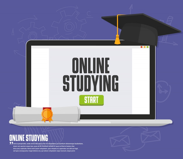 Online training, education, studying with monitor