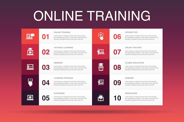 Шаблон вариантов инфографики 10 онлайн-обучения. дистанционное обучение, учебный процесс, электронное обучение, простые значки семинаров