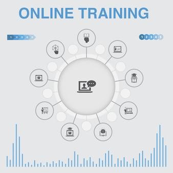 아이콘이 있는 온라인 교육 인포그래픽. 원격 학습, 학습 과정, 전자 학습, 세미나와 같은 아이콘이 포함되어 있습니다.