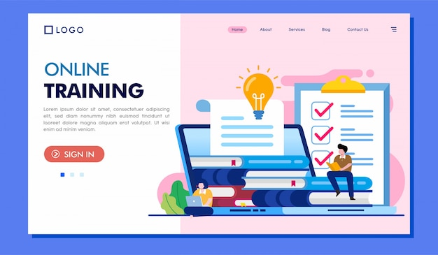 Online training landing page website illustration