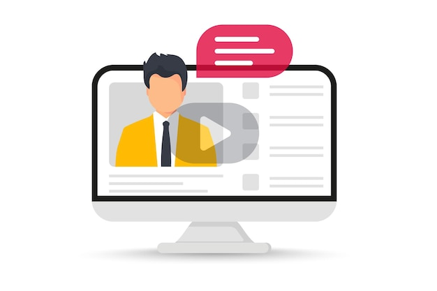 Online training in laptop. educational learning courses. webinar concept. distance education, e-learning tutorials. internet group conference. video lecture, work from home. business webinar