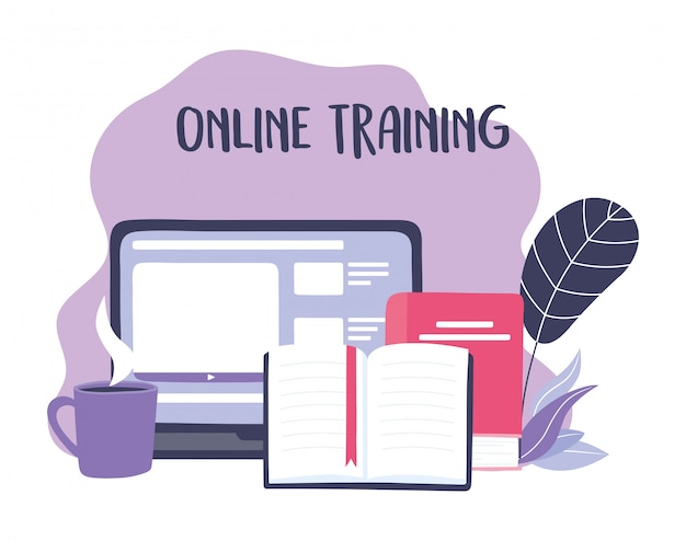 Online training, laptop homepage content books and coffee cup, education and courses learning digital illustration