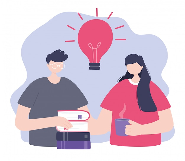 オンライントレーニング、本とコーヒーカップを持つ男女、デジタルイラストレーションを学ぶ教育とコース