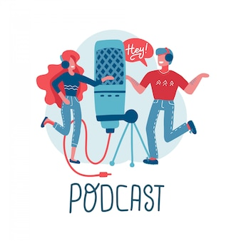 Online training, podcast, radio. podcast concept . people working together for creating podcast. cartoon characters with big mic. flat   isolated illustration with lettering.