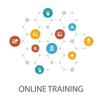 온라인 교육 프리젠테이션 템플릿, 표지 레이아웃 및 인포그래픽. 원격 학습, 학습 과정, e러닝, 세미나 아이콘