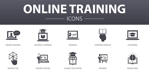 Online training simple concept icons set. contains such icons as distance learning, learning process, elearning, seminar and more, can be used for web, logo, ui/ux