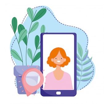 オンライントレーニング、スマートフォンの女性ナビゲーションポインター、インターネットを使用したコースの知識開発