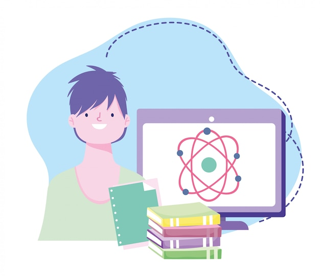 Online training, student class science computer and books, courses knowledge development using internet
