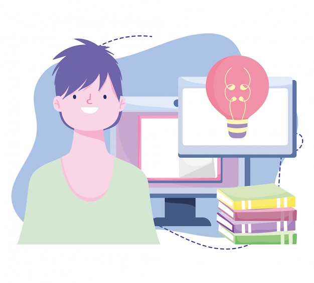 Online training, student computer and books, courses knowledge development using internet