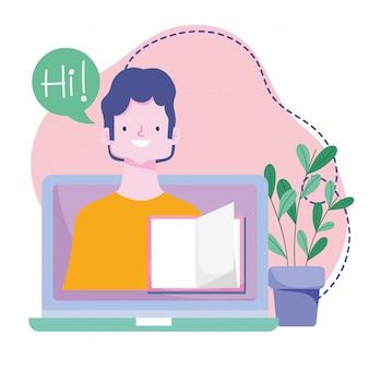 Online training, teacher in screen laptop book class, courses knowledge development using internet