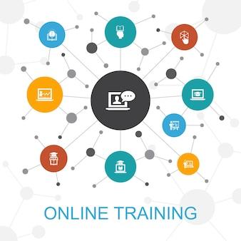 아이콘이 있는 온라인 교육 최신 유행 웹 개념입니다. 원격 학습, 학습 과정, 전자 학습, 세미나와 같은 아이콘이 포함되어 있습니다.