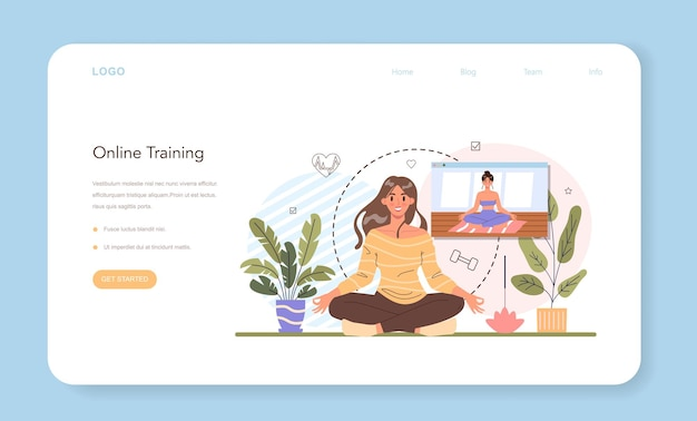온라인 교육 웹 배너 또는 방문 페이지. 전문 피트니스 트레이너와 함께 체육관에서 운동하세요. 건강하고 활동적인 라이프 스타일. 훈련 및 영양 계획. 평면 벡터 일러스트 레이 션