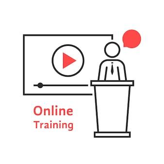 선형 대변인과의 온라인 교육. 수업, 태블릿, 리더, 개인 교사, 팀워크, 대학, 프레젠테이션의 개념. 흰색 배경에 플랫 스타일 트렌드 현대 로고 디자인 벡터 일러스트 레이 션