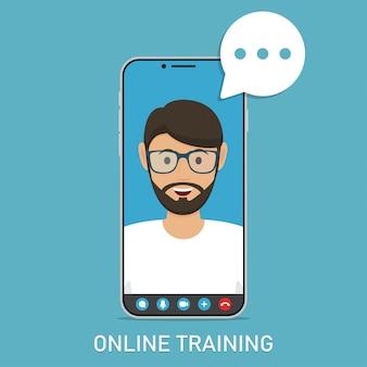 Онлайн тренинг с преподавателем видео в смартфоне в плоском дизайне